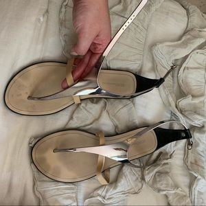 BCBGeneration nude and silver sandals